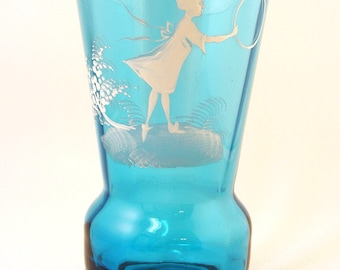Vintage Mary Gregory Style Teal Blue Bohemian Glass Vase Girl with Hoop Turquoise