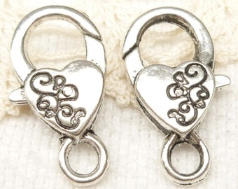 Extra Large Silver Tone Swirl Engraved Heart Lobster Clasp Findings (5) - SF44