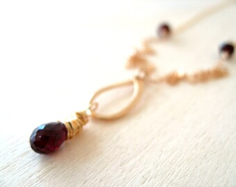 As seen on The Vampire Diaries Garnet teardrop Necklace by Vitrine S6 E604 E613 Sarah Salvatore