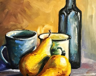 -Original oil painting still life 2 pears (oil painting pear yellow kitchen decor blue bottle)