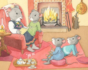 Poster for kids - little mice - A4 illustration history of the night