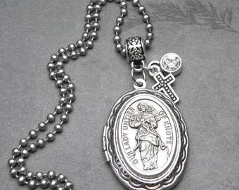 Our Lady Untier of Knots Catholic Holy Medal Locket Necklace, Undoer of Knots, Catholic Gift, Antique Silver Locket