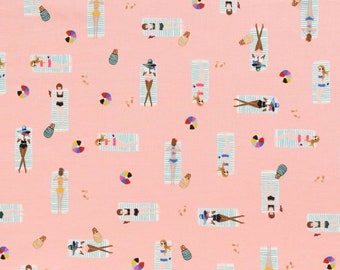 New  Rifle Paper Co Fabric | Cotton and Steel | Sun Girls Cotton (Coral) | Screen Printed Cotton Fabric
