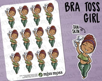 No Bra Curvy Girl Stickers, Latina, Hispanic, Plus Size, Tan Skin - Free The Nipple, Freakin Weekend, FriYAY, Braless,
