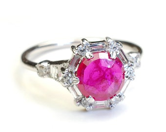 Diamond Ruby Engagement Ring, Rose Cut Ring, Ruby Engagement Ring, Diamond Engagement Ring, Ruby Ring, Vintage Art Deco Style Ring, Nixin