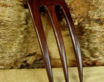 """Laos Rosewood 5 Inch Three Prong Curved Hair Fork Deep Red with Blackish Grain 1 7/8 """" wide 4"""" FPL 1/4"""" Thick Comb Pin Stick Bun Holder"""
