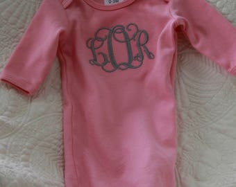 Personalized pink baby gown - embroidered pink newborn baby girl gown - hospital outfit - coming home outfit - baby girl monogram