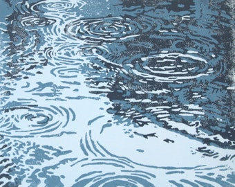 Puddles/Original Linocut Print/Handpulled/8 x 10/Rain