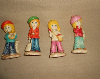 "4 MOD GIRL FIGURINE Set 6"" Vintage Retro Little Ones"