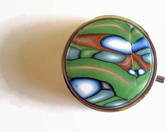 Pill Box, Pill Case, Trinket Box, Green, Blue and Gold