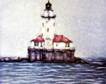 Chicago Harbor Light Polaroid SX-70 Manipulation - 8x8 Fine Art Photograph