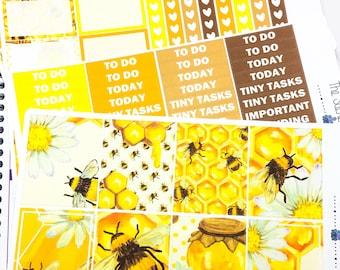 Honey Bee Weekly Kit | Planner Stickers, Weekly Kit, bumble bee weekly kit, Vertical Planner Kit, bee weekly kit, bee planner sticker