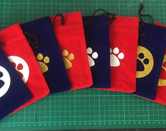 Pet treat pouch, bag, snack bag, velveteen bag, pet gifts, dog training, cat treats, dog treats