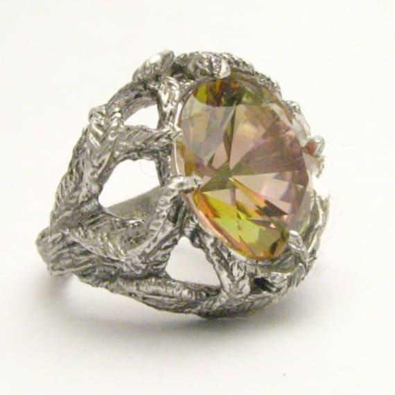 Handmade Sterling Silver Mango Magic Mystic Topaz Vine Ring