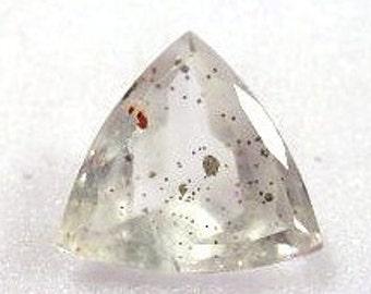 Quartz Trilliant with Pyrite Inclusions Faceted Gemstone - LS: QuPyrite17Trill
