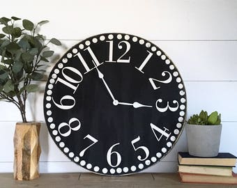 Wood Clock Rustic Farmhouse Wooden Clock-Black & White