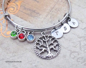 Family Tree Charm Stainless Steel Bangle Personalized Hand Stamped Initial Birthstone Antique Silver Tree Charm Expandable Bangle Bracelet