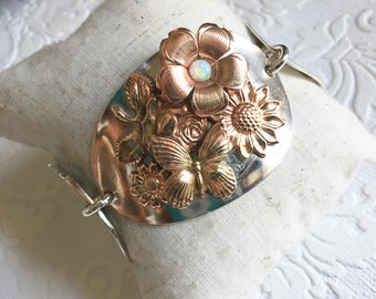 Flora mixed metal tri spoon bracelet
