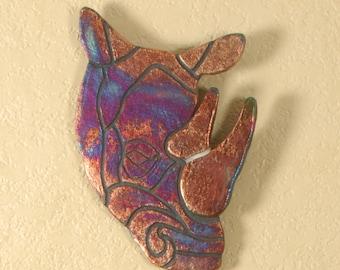 Rhino Head Raku Wall Sculpture