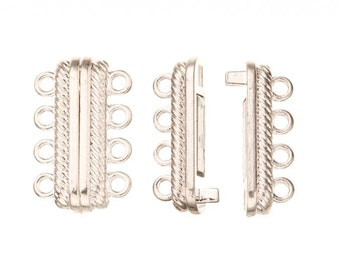 4Pcs 4-Strand Magnetic Multi-Strand Clasp Silver Plated Copper 23x14mm