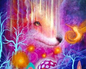 Fox Print - hummingbird -  Nature Art - Pink - Orange - Purple - Animal Prints -  Foxes - Surrealism -  Arte - Artwork