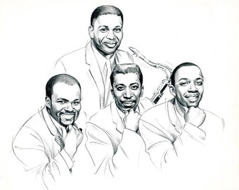 Jr. Walker and the All Stars Portrait - Original Published CD Cover Art For Motown - Signed.