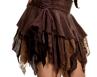 STEAMPUNK SKIRT, Elf skirt, pixie skirt, gypsie skirt, fairy skirt, ragged skirt, festival skirt, Coskkts