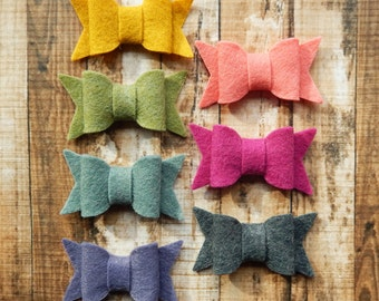 SMALL Chunky Wool Felt Bows - Warmth - Set of 14 - Featuring SOFT CORAL - Exclusive to AMarketCollection