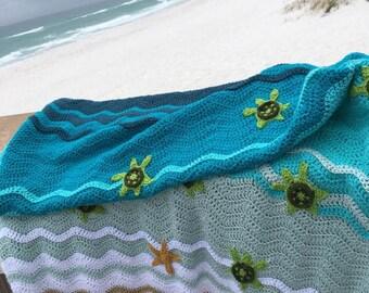 Sea Turtle Blanket, Sea Turtle Afghan, Sea Turtle Crochet Blanket, Sea Turtle Gifts, Beach blanket