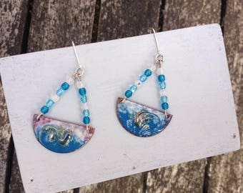 "Earrings romantic and dreamy ""Shards Moon"" silver, copper and enamel"