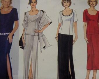 DRESS & STOLE Pattern • Butterick 6413 • Womens 28W-32W • A Line Skirt • Princess Top • Sewing Patterns • Bridal Patterns • WhiletheCatNaps