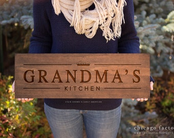 Grandma's Kitchen Sign, Gift For Grandma, Kitchen Decoration, Custom Wall Plaque, Engraved For Grandma's (GP1037)