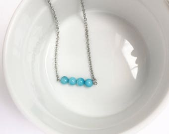 Aqua Necklace - Stainless Steel Necklace - Hypoallergenic Necklace - Dainty Necklace - Minimalist Necklace - Charm Necklace - Gift for Her