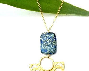 Crescent moon pendant necklace,brass pendant//Bohemian pendant necklace//brass horn necklace// imperial jasper necklace// gold necklace