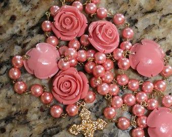Beautiful Pink Handmade Rosary