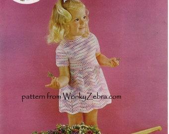 Vintage Girls Dress Crochet Pattern PDF B061 from WonkyZebraBaby