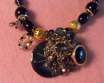 original Beaded necklace with vintage beads art pendant recycled vintage  black rhinestone button steampunk