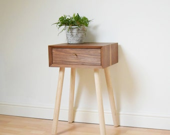 Retro Bedside Table Walnut Scandinavian Style Night Stand Mid-century Bed Side Table Vintage Bedroom Furniture