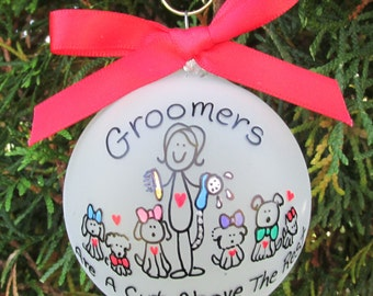 groomer ornament,groomer custom personalized ornament,groomer ornament,pet groomer ornament,gift of dog groomer,groomers gift, pet groomer