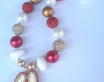 Wizard of Oz Ruby Slipper Themed Chunky Bubblegum Necklace