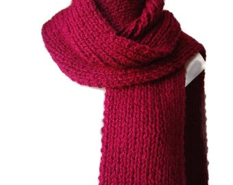 Red Chunky Knit Scarf Vegan Rib Knit FELIX Men Woman - Ready to Ship Autumn Winter Christmas Gift for Him or Her
