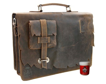 Briefcase SHATTERHAND made of brown Western-leather