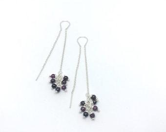 earring , handmade , stone , redgarnet , garnet , silver925