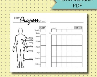Bullet Journal Stickers - Body Measurement Chart Page Stickers Downloadable PDF - For A5 Size Journal