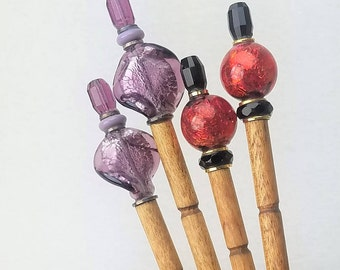 Pair of Hairsticks Handmade Vintage Handmade Glass - Choice of Ruby or Amethyst