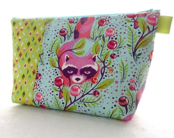 X Large Tula Pink Fabric Cosmetic Bag Zipper Pouch Padded Makeup Bagk Zip Pouch Raccoon Poppy All Stars Blue Pink Lime MTO