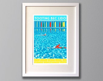 Tooting Bec Lido Swimmers - A3 Screen print - Limited Edition - (Un)framed