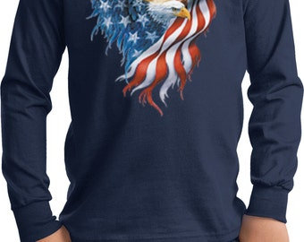 USA Eagle Flag Kids Long Sleeve Tee T-Shirt WS-12260-PC61YLS