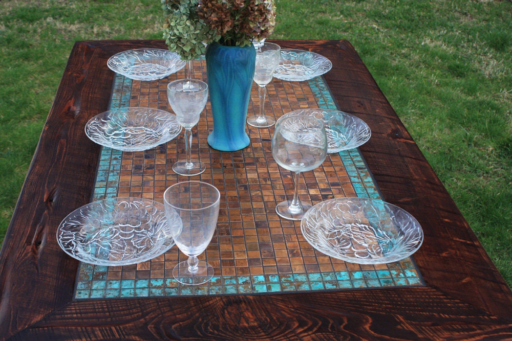 Kitchen Table. Copper Table. Rustic Dining Table. Mosaic