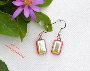 107 Fused glass dichroic earrings, dangles, sparkle, rectangle, red, yellow, silver, green
